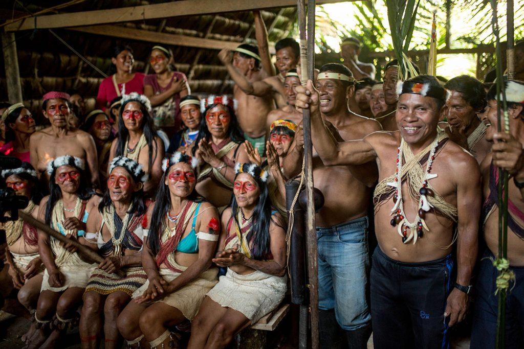 Waorani men and women participate in an assembly in ancestral Waorani territory, Pastaza, Ecuadorian Amazon.(Photo credit: Amazon Frontlines)