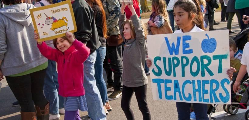 Milwaukee public school teachers and supporters picket outside Milwaukee public schools adminstration building in Milwaukee, Wisconsin.