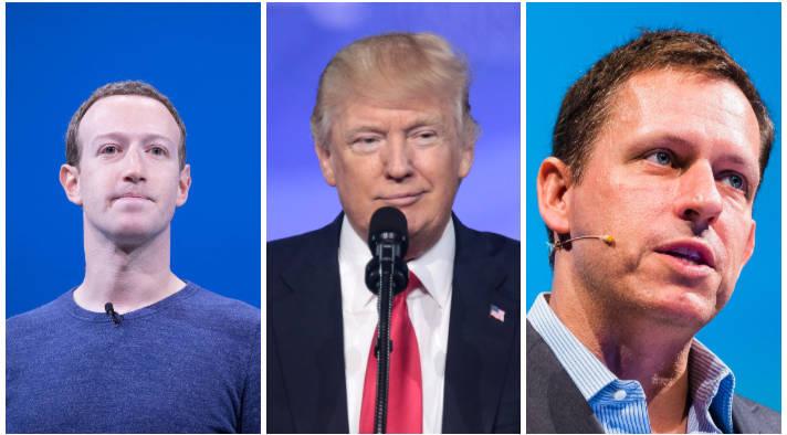 Mark Zuckerberg, Peter Theil, Donald Trump