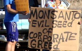 Members of Occupy Wall Street Maui protesting at Monsanto in Kihei. Date: January 28, 2012. (Photo: Viriditas)