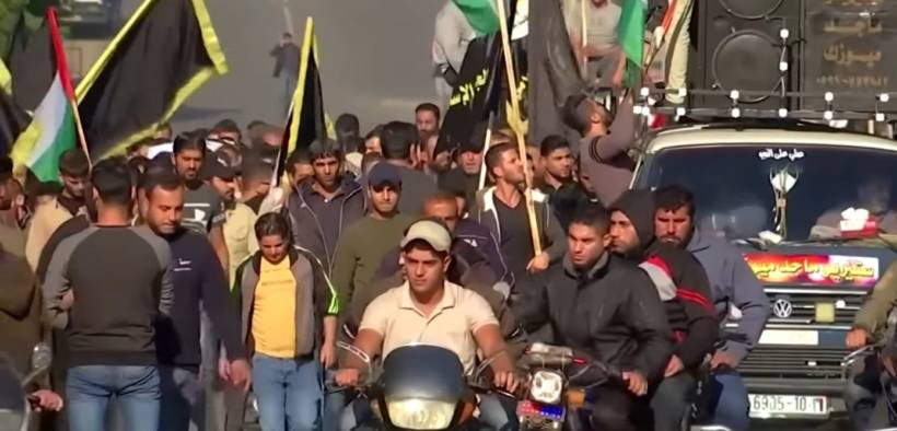 Palestinians gather to mourn the assassination of Islamic Jihad leader Bahaa Abuelatta by Israel. (Photo: Youtube)