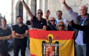 Francisco Franco supporters rally to protest the exhumation of Franco's body from the Valle de los Caidos. (Photo: YouTube)