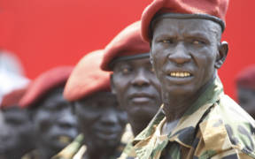 South Sudan's presidential guard wait the arrival of foreign dignitaries in 2011 invited to participate in the country's official independence celebrations in the capital city of Juba.