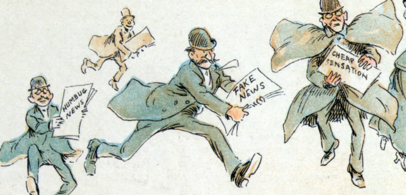"""Reporters with various forms of """"fake news"""" from an 1894 illustration by Frederick Burr Opper"""