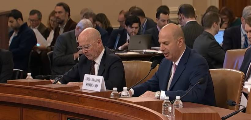 Ambassador Gordon Sondland testifies during the public phase of the Trump impeachment hearings. (Photo: YouTube)