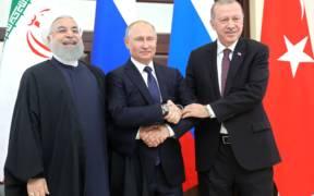 Joint meeting between Russian President Vladimir Putin, President of Iran Hassan Rouhani (left) and President of Turkey Recep Tayyip Erdogan in February 2019.