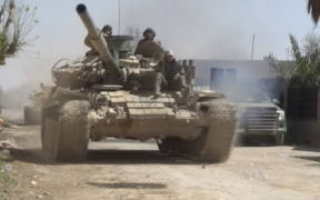 Syrian Army tanks advance during Operation Damascus Steel in March 2018