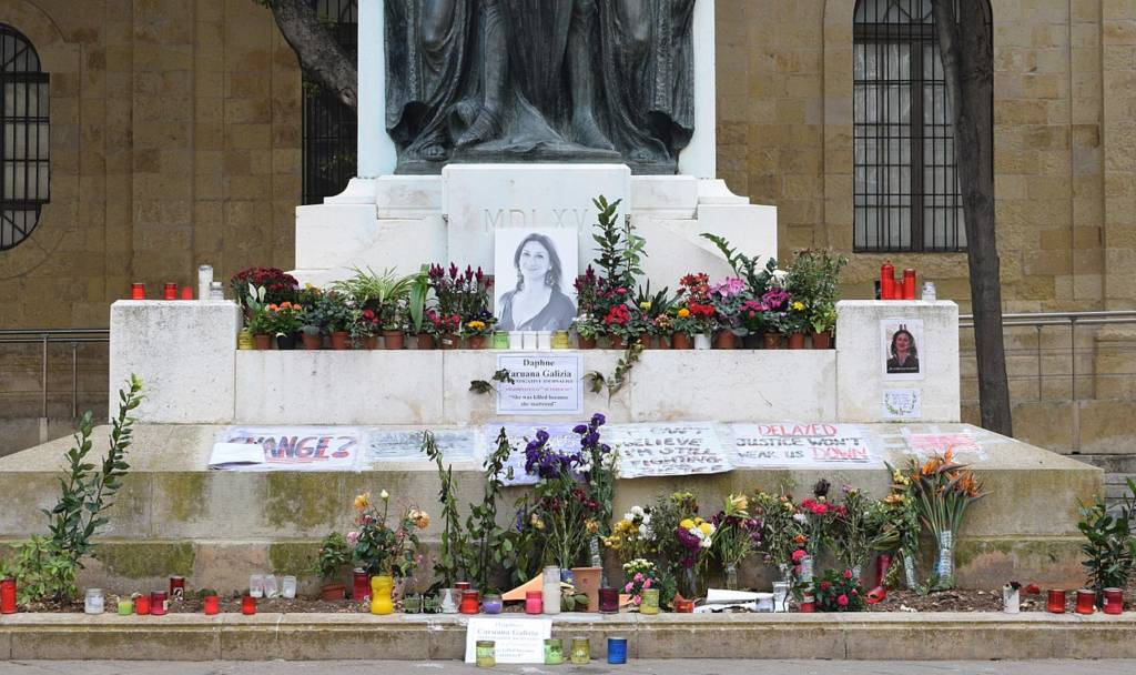 Memorial to murdered investigative journalist Daphne Caruana Galizia at the foot of the Great Siege Monument in Valletta, Malta.