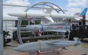 Raytheon missiles on display. Paris Air Show, 2005