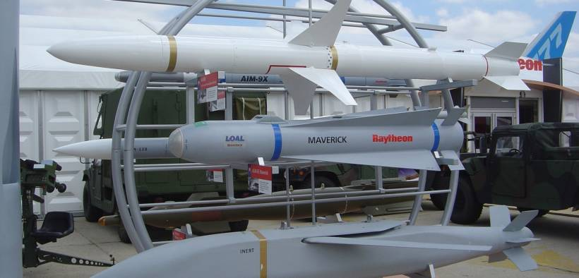 Raytheon missiles on display. Paris Air Show, 2005