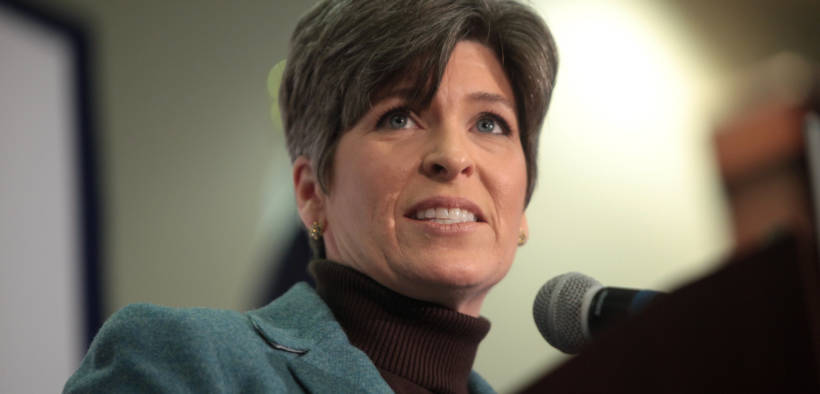 U.S. Senator Joni Ernst speaking with supporters at a campaign rally for U.S. Senator Marco Rubio at the Forte Banquet Center in Des Moines, Iowa.