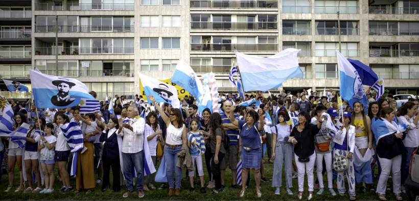 Celebration for Luis Lacalle Pou in Pocitos, Montevideo, Uruguay on November 29, 2019.