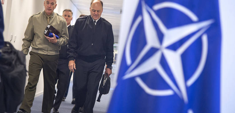 U.S. Marine Corps Gen. Joe Dunford, chairman of the Joint Chiefs of Staff, walks with Vice Adm. John N. Christenson, U.S. Military Representative, NATO Military Committee, at NATO headquarters in Brussels, May 15th, 2018. (Photo: DOD, Navy Petty Officer 1st Class Dominique A. Pineiro)
