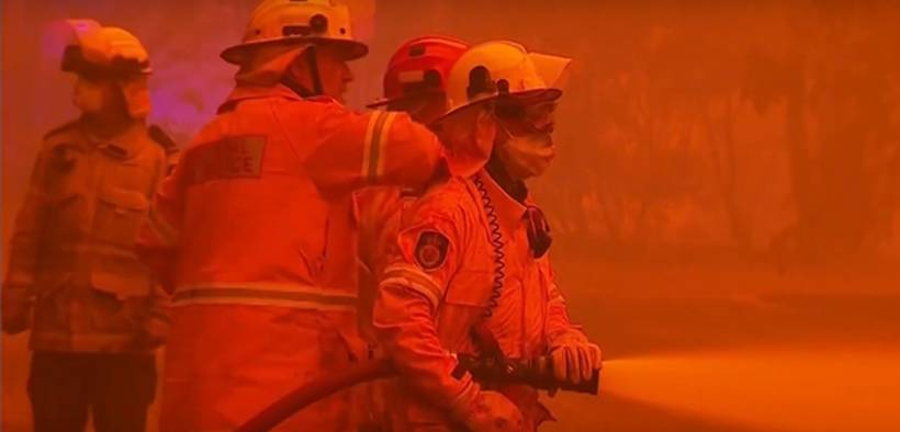 Firefighters battle record setting Australian fires in New South Wales. (Photo: YouTube)