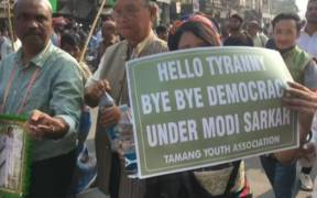Protest in India over India's new citizenship law that discriminates against Muslims. (Photo: YouTube)