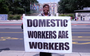 A 2014 International Domestic Workers Federation demonstration in front of the U.N. demanding protection for migrant workers' rights.