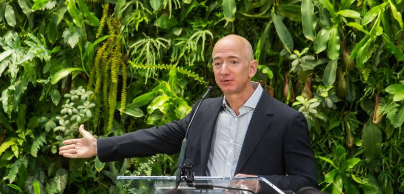 Jeff Bezos at Amazon Spheres Grand Opening in Seattle in January 2018.