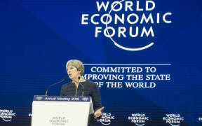 Former UK Prime Minister Theresa May addresses the World Economic Forum at Davos 2018. (Photo: Number 10, Flickr)