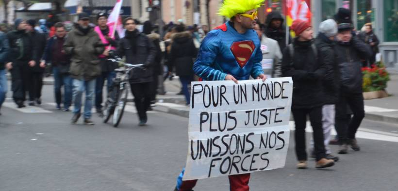 French protester on December 5, 2019 protesting against French President Emmanuel Macron's planned pension reform.