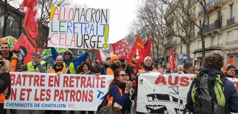Protest in Paris over Macron's pension reform. December, 2019