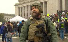 A gun rights advocate at Virginia's gun rights rally on Monday January 20, 2020.