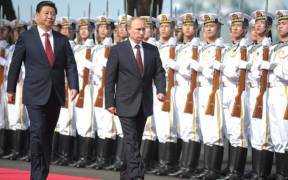 Vladimir Putin and President of China Xi Jinping took part in the opening ceremony of the Russia-China Naval Interaction 2014 joint exercises at the Usun naval military base.