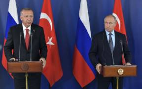 Russian President Vladimir Putin and Turkey's Recep Tayyip Erdogan during a press conference at the Kremlin in April 2019. (Photo: Kremlin.ru)