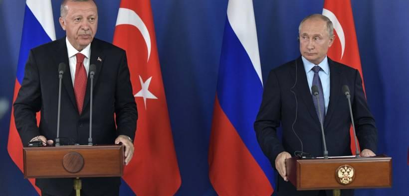 Russian President Vladimir Putin and Turkey's Recep Tayyip Erdogan during a press conference at the Kremlin in April 2019. (Photo: Kremlin.ru)