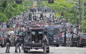 George Floyd protests in Seattle June 3 2020 police vehicles on Capitol Hill