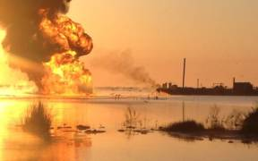 Salvage and firefighting operations continue Bayou Perot Louisiana e1593275440394