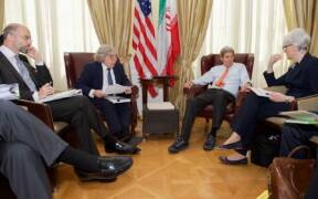 Secretaries Kerry Moniz Receive Briefing From Under Secretary Sherman Before Latest Round of Iranian Nuclear Negotiations in Austria