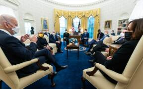 Biden meets with a bipartisan group of governors and mayors