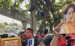 Myanmar coup 2021 protest in Bangkok Thailand 02