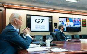 President Joe Biden meets with G7 leaders