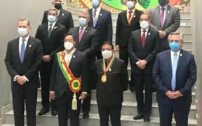 Canciller Andres Allamand participa del saludo protocolar al Presidente de Bolivia Luis Arce y al Vicepresidente David Choquehuanca 02