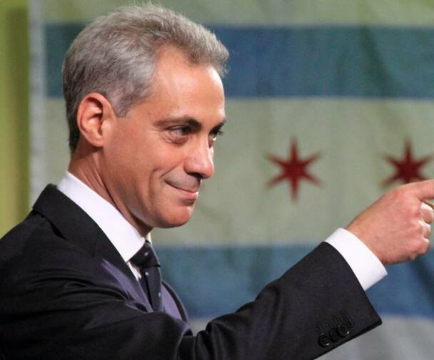Rahm Emanuel Pointing With Chicago Flag in Background cropped e1620337153428